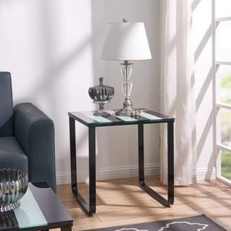 Southern Enterprises Tre Contemporary Side Table w/ Glass Top, Modern, High Shine Black