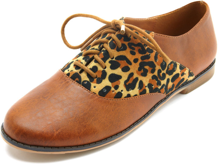 Charlotte Russe Leopard-Inset Oxford Flat