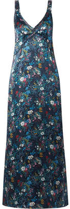 R 13 Floral-print Silk-georgette Maxi Dress - Midnight blue