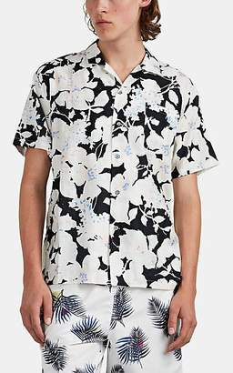 Double Rainbouu Men's Cloud Control Floral Cotton Camp Shirt - Black