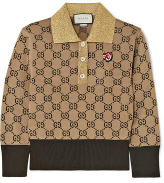 Gucci Metallic-trimmed Intarsia Wool Sweater - Camel