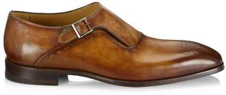 Saks Fifth Avenue Laser-Cut Monk Strap Leather Dress Shoes