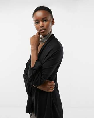 Express Petite Ruched Sleeve Roll Neck Cover-Up