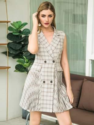 Shein Double Crazy Plaid Double Button Pleated Hem Blazer Dress