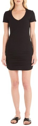 Women's Michael Stars Ruched V-Neck Jersey Minidress $88 thestylecure.com