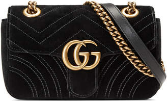 Gucci GG Marmont 2.0 Mini Quilted Velvet Crossbody Bag, Black