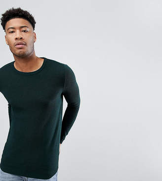 Asos DESIGN TALL Muscle Fit Lightweight Cable Sweater In Bottle Green