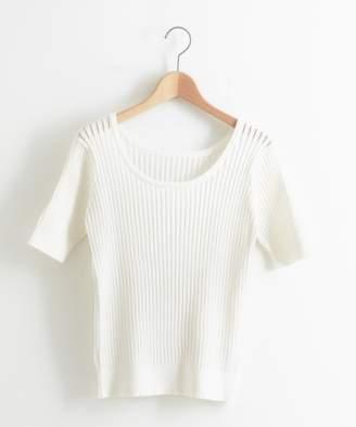 Le.coeur Blanc (ル クール ブラン) - le.coeur blanc 透かしリブ2WAY半袖 コットンブレンド