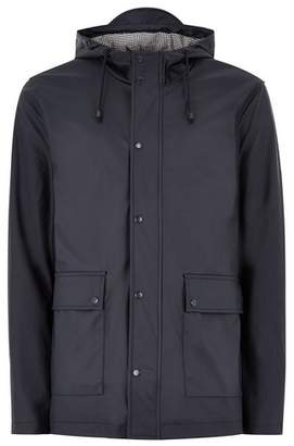 Topman Mens Navy Showerproof Rubberised Parka