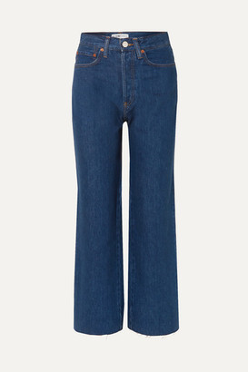 RE/DONE Cropped High-rise Wide-leg Jeans - Dark denim