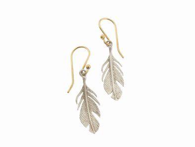 Annette Ferdinandsen Small Silver Feather Earrings