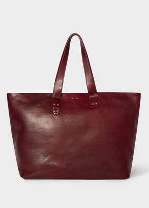 Paul Smith Men's Burgundy Leather Holdall
