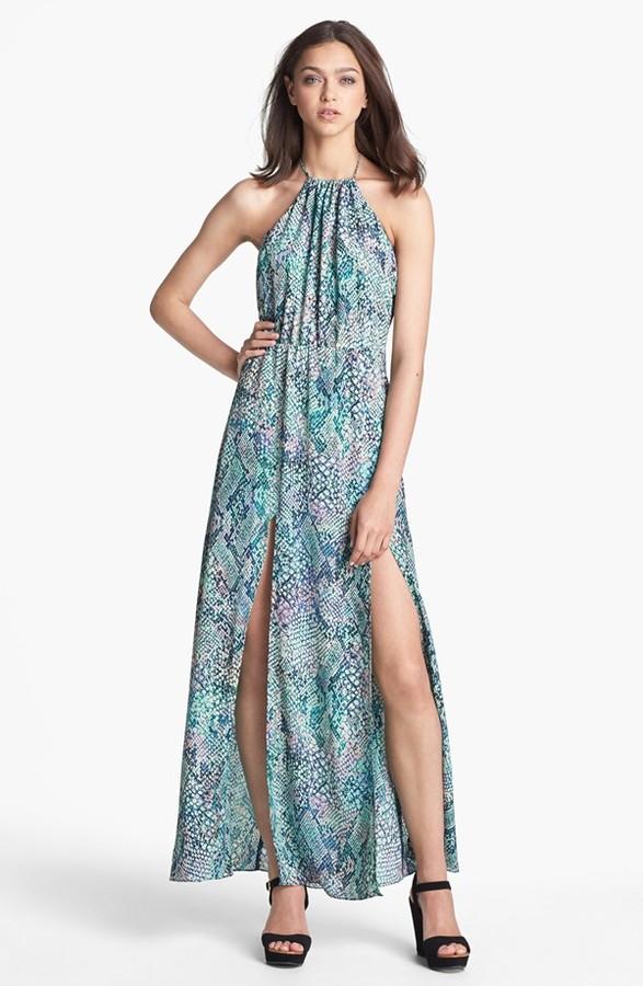 Lovers and Friends Lovers + Friends 'Smokin' Hot' Print Halter Maxi Dress