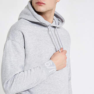 River Island Jack and Jones Core grey printed sleeve hoodie
