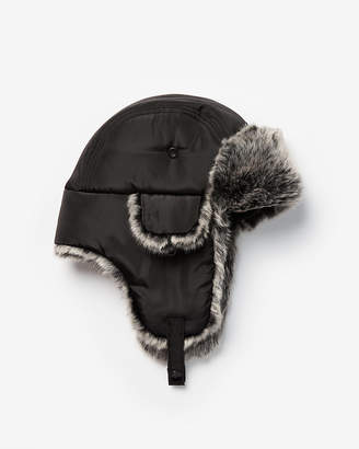 Express Faux Fur Trim Trapper Hat