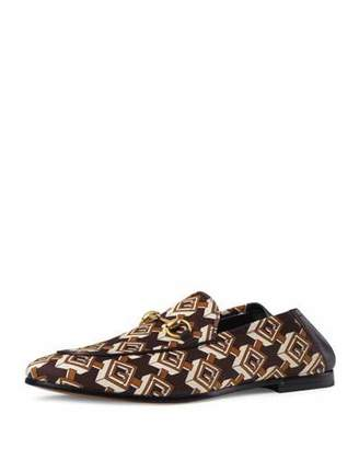 Gucci Men's Brixton Isometric G Cube Satin Fold-Down Loafer
