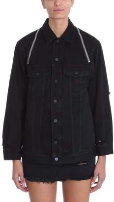 Alexander Wang Black Daze Zip Distressed Denim Jacket