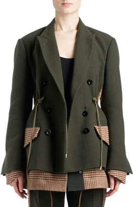Sacai Double-Breasted Wool Coat with Plaid Combo