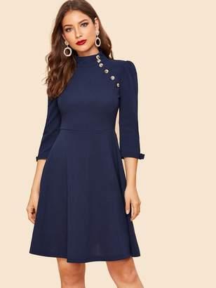 45bf99c704c46e Shein Mock Neck Button Detail Bow Cuff Flare Dress