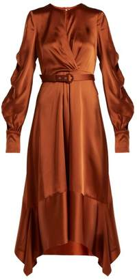 Jonathan Simkhai Asymmetric Satin Midi Dress - Womens - Dark Orange