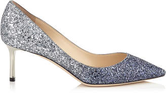 Jimmy Choo ROMY 60 Navy and Silver Coarse Glitter Degradé Pointy Toe Pumps