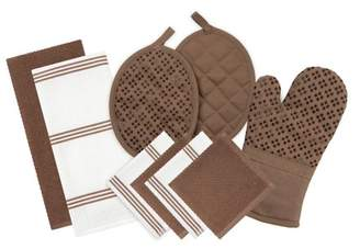 Sticky Toffee Silicone Printed Oven Mitt & Pot Holder, Cotton Terry Kitchen Dish Towel & Dishcloth, Brown, 9 Piece Set