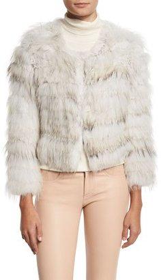 Alice + Olivia Fawn Rabbit & Fox Fur Bomber Jacket, Gray/White $1,395 thestylecure.com