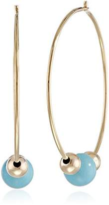14k Yellow Gold Endless Hoop with Turquoise-Colored Bead Earrings