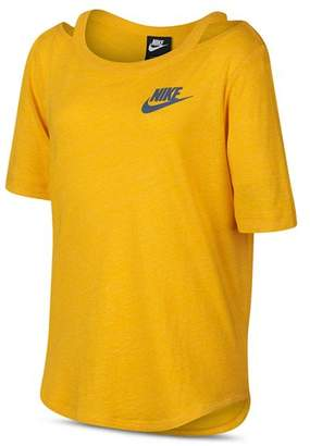 Nike Girls' Heathered Cut-Out Tee - Big Kid