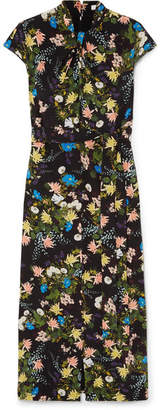 Erdem Finn Floral-print Silk-crepe Midi Dress - Black