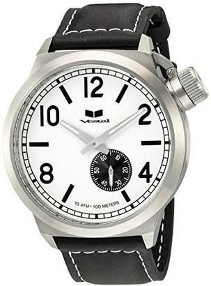 Vestal Men's CTN3L03 Canteen White Dial Black Leather Watch