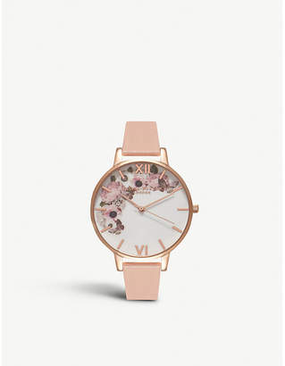Olivia Burton OB15WG10 floral-print rose-gold plated stainless steel watch