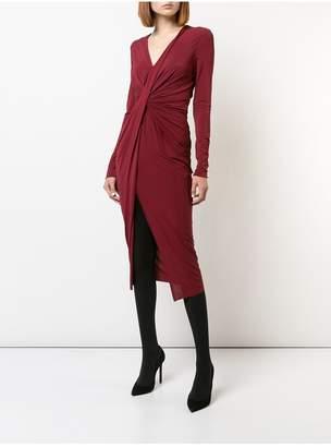 Jason Wu Fluid Jersey V Neck Long Sleeve Twisted Drape Dress