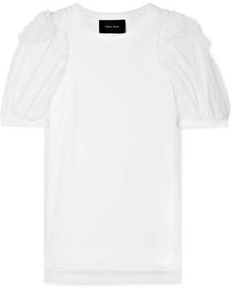 Simone Rocha Layered Ruffled Cotton-jersey And Tulle T-shirt - White