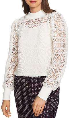 1 STATE 1.STATE Crochet Lace Mock-Neck Top