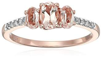 10k Rose Gold Morganite and Diamond 3-Stone Engagement Ring