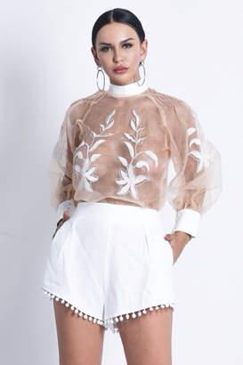 Tiny House Of Fashion White 2 Piece Shorts/Blouse Set