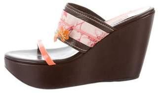 Prada Floral Wedge Sandals