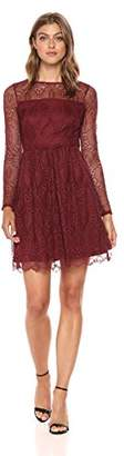 Adrianna Papell Women's Chevron Lace Fit and Flare Long Sleeve Dress