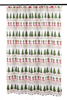 Carnation Home Fashions Christmas Time Fabric 6 by 6 Shower Curtain