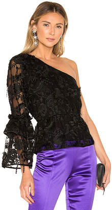 Cynthia Rowley Ruffle Sleeve Lace Top
