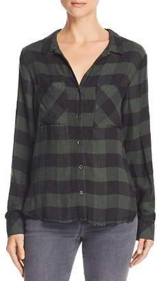 Bella Dahl Frayed Hem Plaid Button-Down Shirt