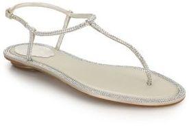 Rene Caovilla Crystal-Embellished Satin T-Strap Sandals $1,095 thestylecure.com
