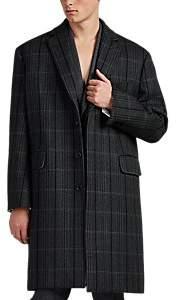 Calvin Klein Men's Checked Wool Oversized Overcoat - Gray