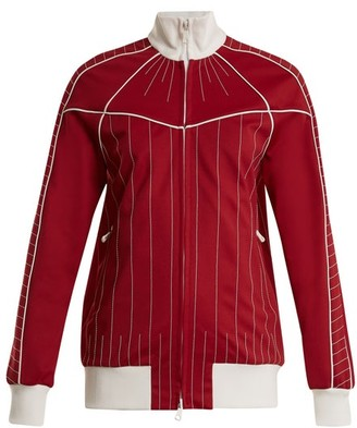 Valentino - High Neck Zip Through Jersey Track Top - Womens - Red