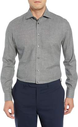 Luciano Barbera Slim Fit Herringbone Dress Shirt
