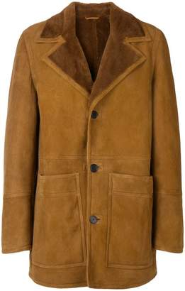 Ami Alexandre Mattiussi Shearling Jacket With Patch Pockets