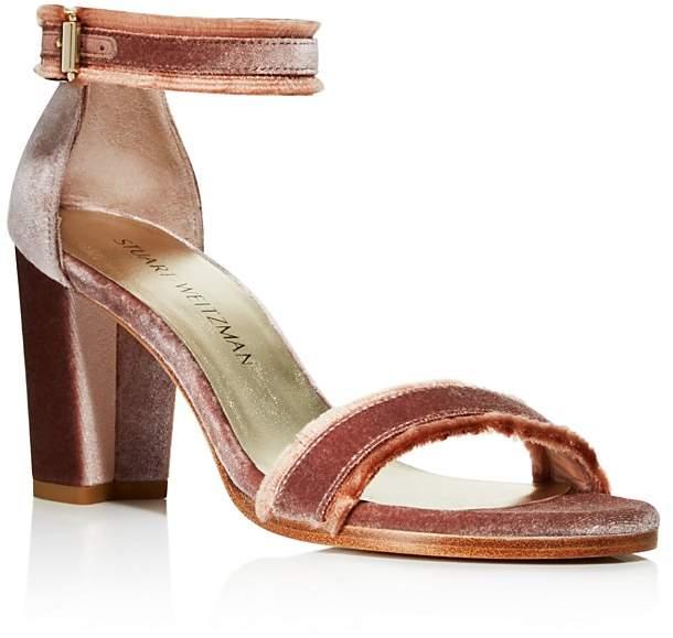 Stuart Weitzman Frayed Velvet Ankle Strap High Heel Sandals