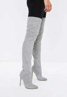 Missguided Grey Pointed Over the Knee Boots