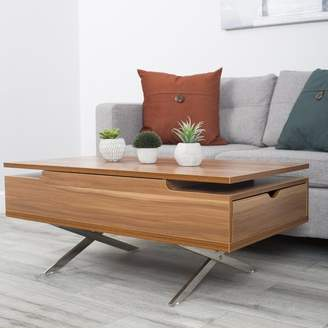 Wrought Studio Denson Melamine Veneer Wood Hidden Storage Lift Top Coffee Table Top